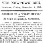 Memories of a Forty-Niner in the Newtown Bee